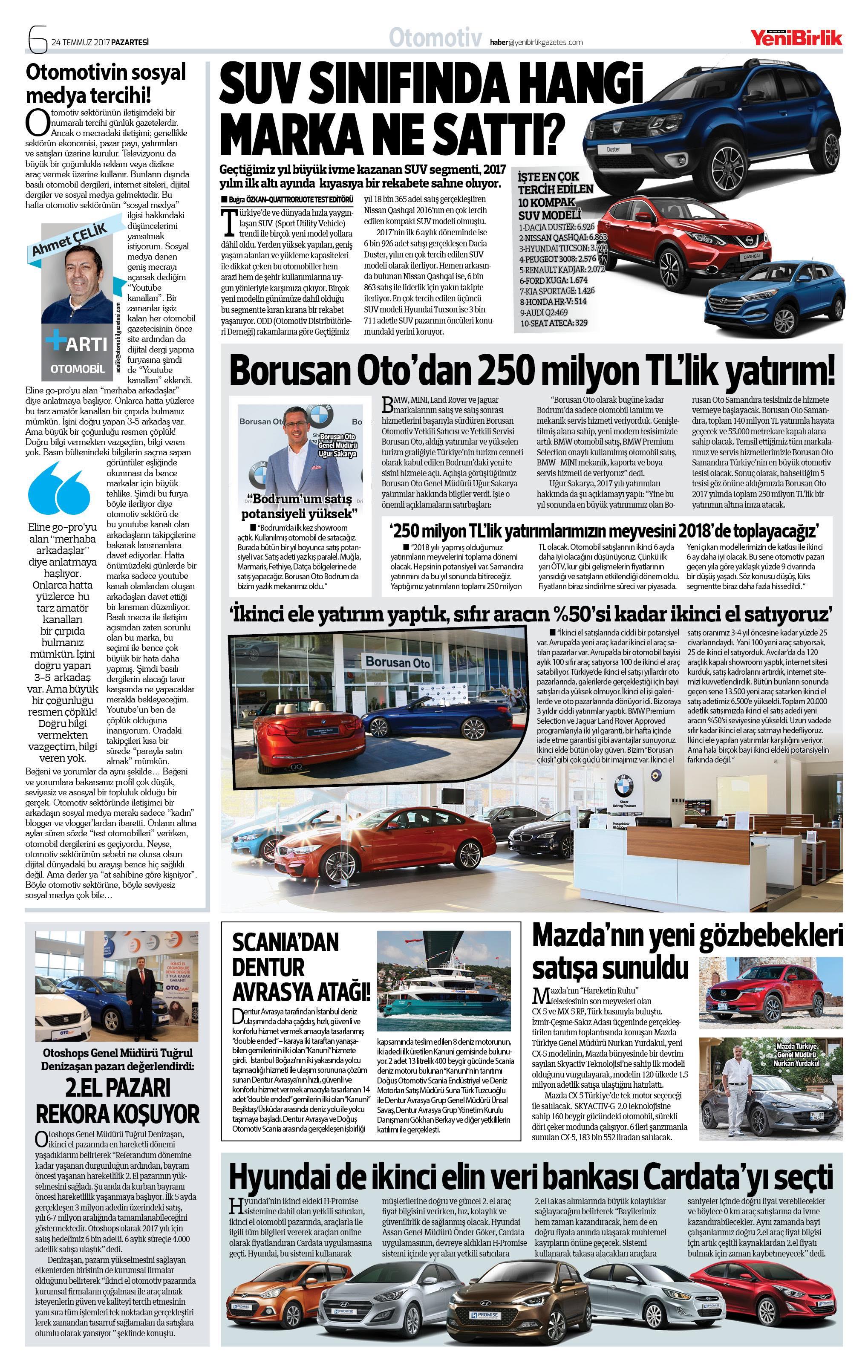 Otomotivin gündemi Yeni Birlik Gazetesi'nde!